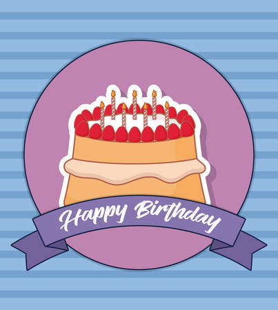 Happy birthday design with birthday cake with candles icon over decorative circular frame and ribbon and blue background, colorful design. vector illustration