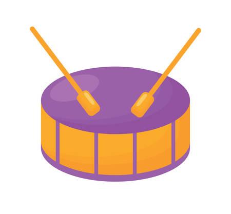 drum icon over white background, colorful design. vector illustration