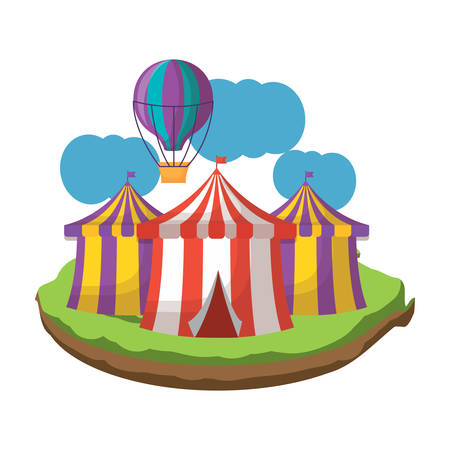 circus tents and hot air balloon icon over white background, colorful design. vector illustration 向量圖像