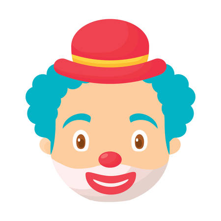 cartoon clown face with hat over white background, colorful design. vector illustration