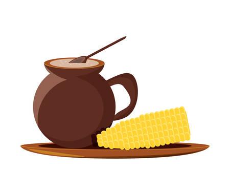 Bebida mexicana e icono de maíz hervido sobre fondo blanco, diseño colorido. ilustración vectorial Ilustración de vector