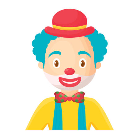 Cartoon clown with a hat over white background, colorful design. Vector illustration