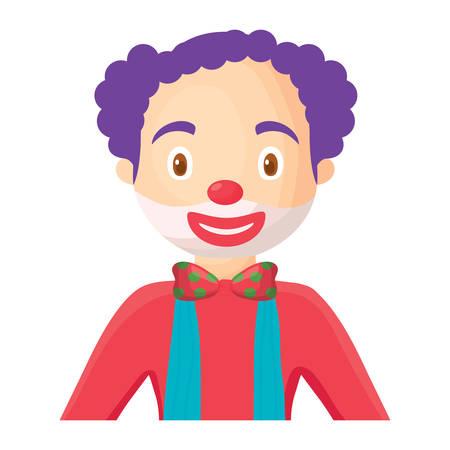 Cartoon clown icon over white background, colorful design. Vector illustration Illustration