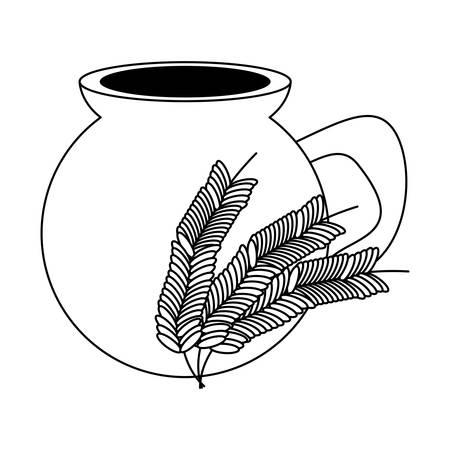 Bebida de atole mexicano, olla y trigo icono de orejas sobre fondo blanco, ilustración vectorial. Ilustración de vector