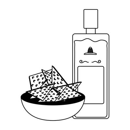Tequila bottle with tortilla chips over white background, vector illustration.