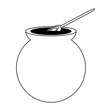 Icono de café de olla café mexicano sobre fondo blanco, ilustración vectorial.