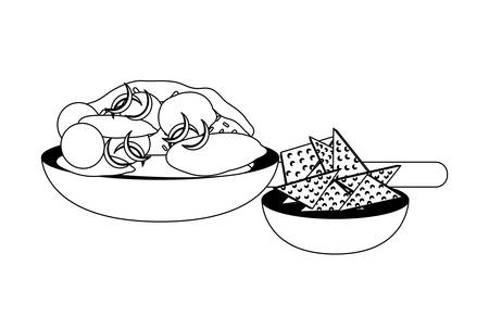 Mexican dish with tortillas chip over white background, vector illustration. 向量圖像