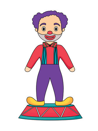 Cartoon clown standing over white background, colorful design. Vector illustration