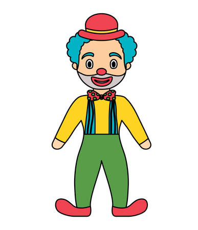 Cartoon clown with hat standing over white background, colorful design. Vector illustration