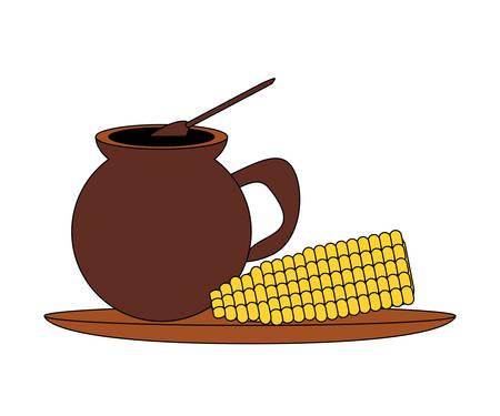 Bebida mexicana e icono de maíz hervido sobre fondo blanco, diseño colorido. ilustración vectorial