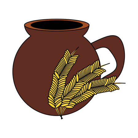Bebida de atole mexicano, icono de orejas de maceta y trigo sobre fondo blanco, ilustración vectorial