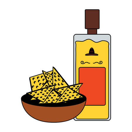 tequila bottle with tortilla chips over white background, colorful design. vector illustration