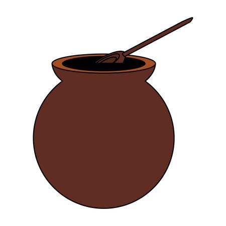 Icono de café mexicano de olla sobre fondo blanco, diseño colorido. ilustración vectorial