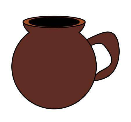 Icono de café mexicano de olla sobre fondo blanco, diseño colorido. ilustración vectorial Ilustración de vector