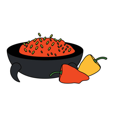 mexican food design with chili dip icon over white background, colorful design. vector illustration