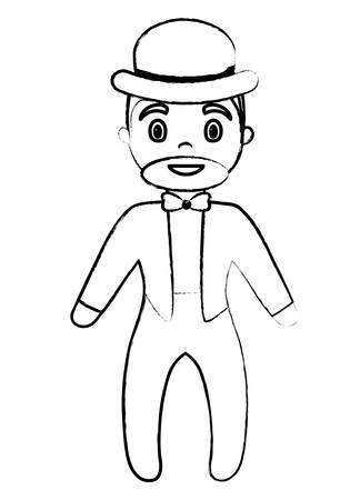 sketch of cartoon Circus Ringmaster icon over white background, vector illustration