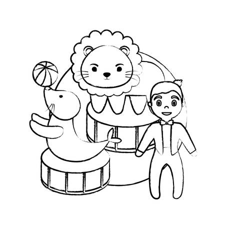 sketch of circus show with animals and announcer man over white background, vector illustration