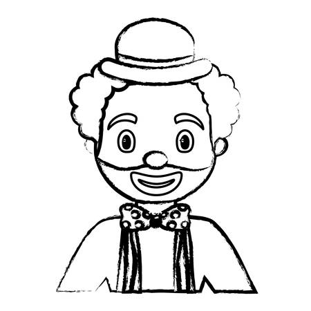 sketch of cartoon clown with a hat over white background, vector illustration