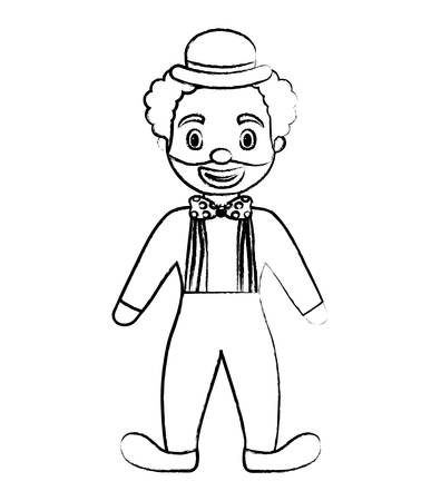 sketch of cartoon clown with hat standing over white background, vector illustration