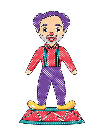 cartoon clown icon over white background, colorful design. vector illustration