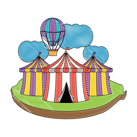 circus tents and hot air balloon icon over white background, colorful design. vector illustration Illustration