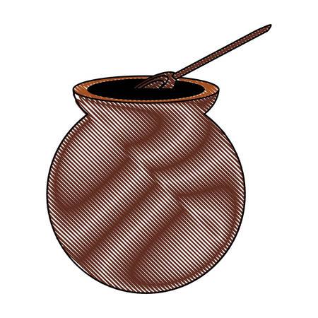 Café mexicano café de olla icono sobre fondo blanco, diseño colorido. ilustración vectorial