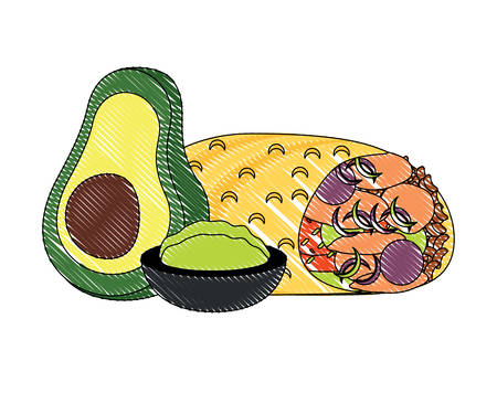 Mexican food design with burrito and guacamole dip icon over white background, colorful design. vector illustration