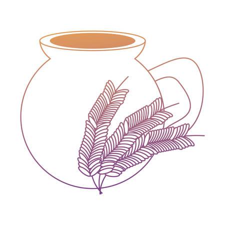 Bebida de atole mexicano, icono de orejas de maceta y trigo sobre fondo blanco, ilustración vectorial Ilustración de vector