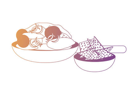 mexican dish with tortillas chip over white background, colorful design.  vector illustration