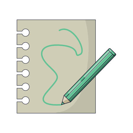 Notebook sheet and colored pencil icon over white background Illustration
