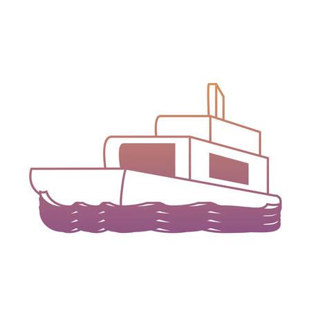 boat icon over white background, colorful design. vector illustration
