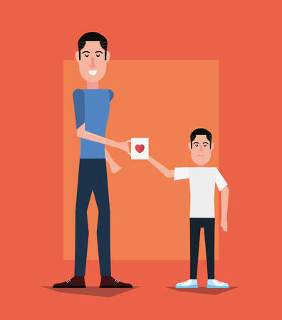 Cartoon father and his son giving a coffee mug over orange background, happy fathers day concept, vector illustration