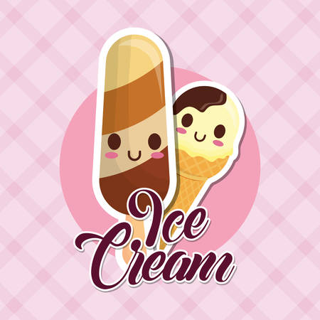 ice creams over pink background, colorful design. vector illustration