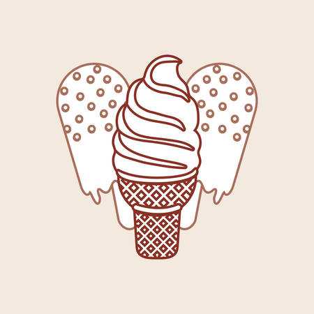 ice cream bars and soft serve ice cream over brown background, vector illustration