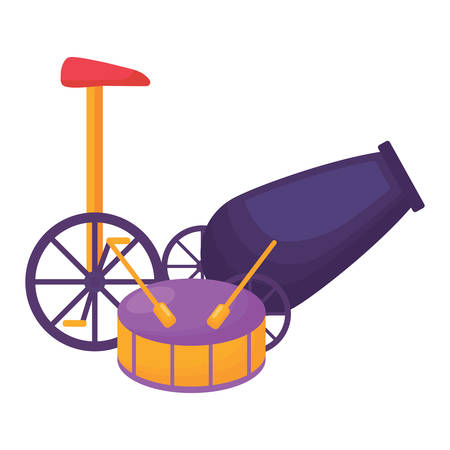Drum and monocycle icon over white background, colorful design. Vector illustration