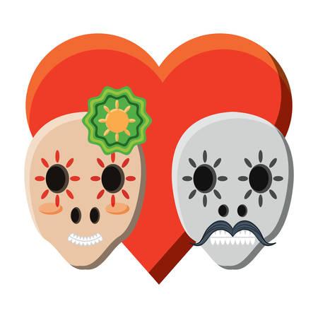 Heart of sugar skulls couple icon over white background, colorful design. vector illustration