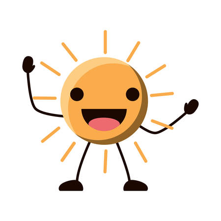 Excited sun icon over white background, colorful design. Vector illustration