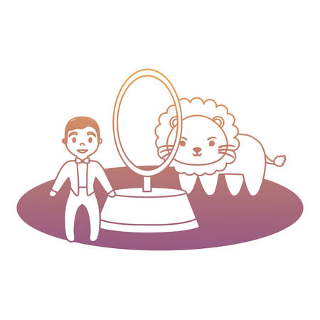 Circus show with lion and ring master over white background, colorful design.