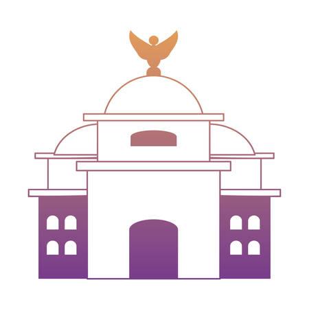 Mexique Palais des Beaux-Arts icône sur fond blanc, design coloré. illustration vectorielle Vecteurs