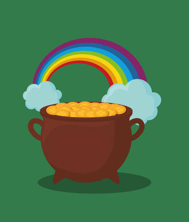 saint patricks day design with pot of gold and rainbow over green background, colorful design. vector illustration