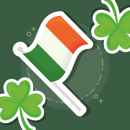 Ireland flag with clovers template design Illustration