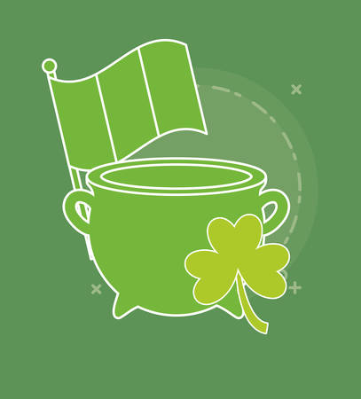 saint patricks day design with pot of gold with clover icon over green background, colorful line design. vector illustration Illustration