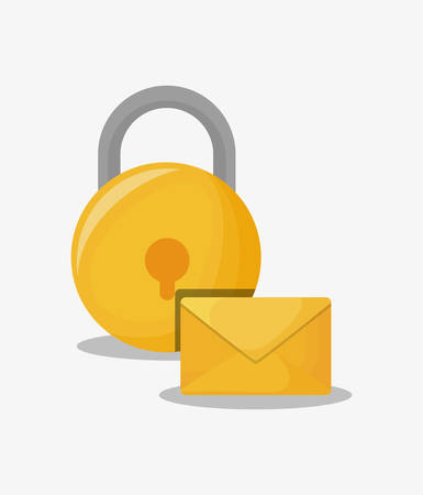 A security padlock and envelope over white background, colorful design.