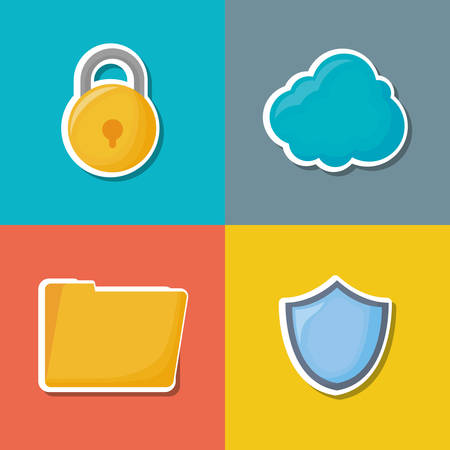 icon set of cyber security concept over colorful squares, vector illustration