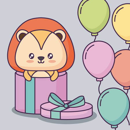 Happy birthday design with gift box with cute lion and decorative balloons over gray background, colorful design. vector illustration Illustration