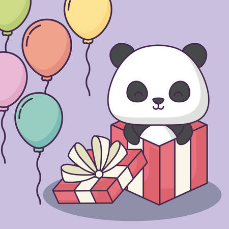 Happy birthday design with gift box with cute panda bear and decorative balloons over purple background, colorful design. vector illustration
