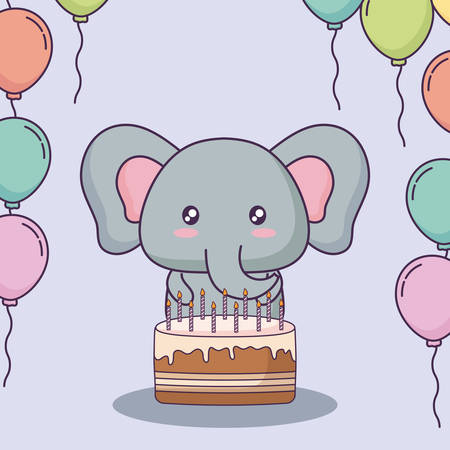 cute elephant with birthday cake and decorative balloons over purple background, colorful design. vector illustration