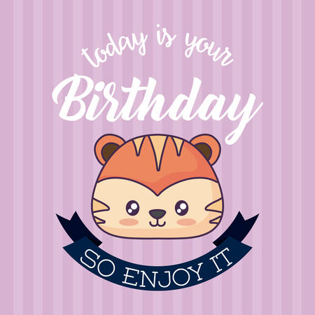 Happy birthday card with cute tiger icon and decorative ribbon over purple background, colorful design. vector illustration Illustration