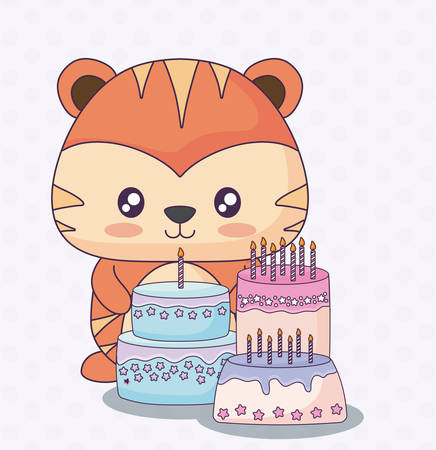 cute lion with birthday cakes over purple background, colorful design. vector illustration