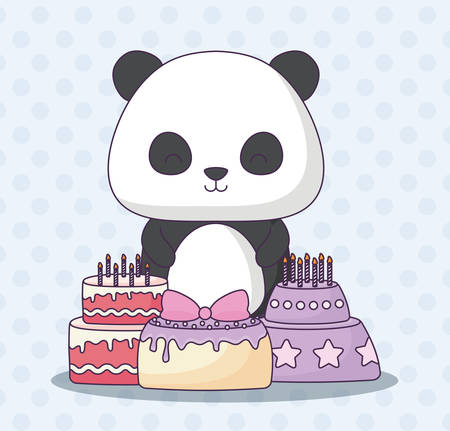 cute panda bear with birthday cakes over blue background, colorful design. vector illustration Illustration